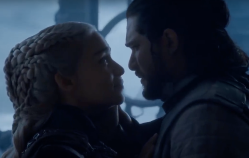jon and dany in the iron throne