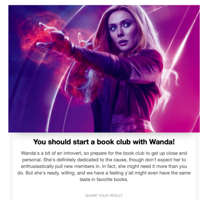 book club with Wanda Maximoff