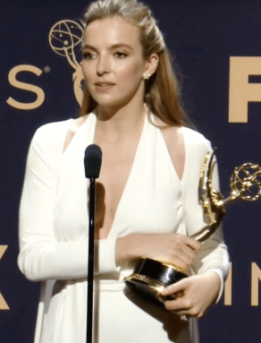 Jodie Comer with her Emmy