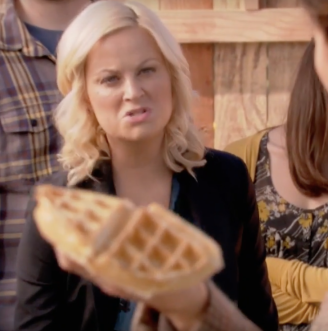Leslie fighting for waffles